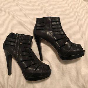Stuart Weitzman Black Leather Caged Heels